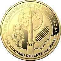 Australien : 100 Dollar 50 Jahre Mondlandung RAM - im Etui/Zerti 1 oz  2019 Stgl.
