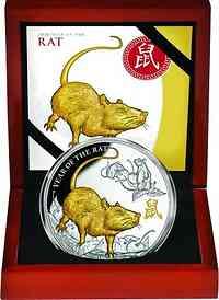 Niue : 8 Dollar Lunarserie - Jahr der Ratte  5 oz  2020 Stgl.