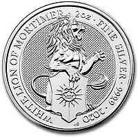Großbritannien : 5 Pfund The Queen´s Beasts #8 - Weisser Löwe 2oz  2020 Stgl.