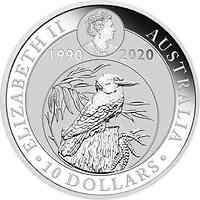 Australien : 10 Dollar 30 Jahre Kookaburra - Jubiläumsausgabe  10 oz  2020 Stgl.