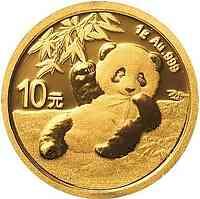 China : 10 Yuan Goldpanda 1 gr.  2020 Stgl.