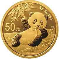 China : 50 Yuan Goldpanda 3 gr.  2020 Stgl.