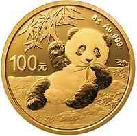 China : 100 Yuan Goldpanda 8 gr.  2020 Stgl.