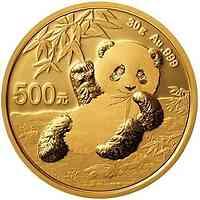 China : 500 Yuan Goldpanda 30 gr.  2020 Stgl.