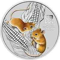 Australien : 8 Dollar Jahr der Maus   5 oz  2020 Stgl.