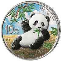 China : 10 Yuan Silberpanda farbig - Variante 2  2020 Stgl.