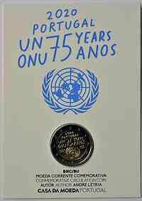 Portugal : 2 Euro 75 Jahre Vereinte Nationen UNO  2020 Stgl.