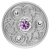 Kanada : 5 Dollar Geburtsstein Februar mit Swarowskikristall  2020 PP