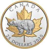 Kanada : 25 Dollar Zeitlose Ikonen - Eisbär/Piedfort 2020 bfr