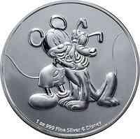 Niue : 2 Dollar Disney - Mickey & Pluto   1 oz Bullion  2020 Stgl.