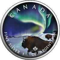 "Kanada : 5 Dollar Maple Leaf - Nordlichter ""Buffalo"" #5  2020 Stgl."