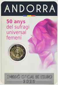 2 Euro Gedenkmünze 2020 / 2 Euro Sondermünze 2020 Andorra 50 Jahre allgemeines Frauenwahlrecht in Andorra