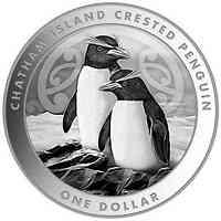 Neuseeland : 1 Dollar Chatham Island Crested Penguin - Bullion 1 oz  2020 Stgl.