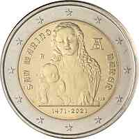 San Marino : 2 Euro 550. Geburtstag von Albrecht Dürer  2021 Stgl.
