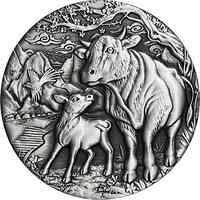 Australien : 2 Dollar Jahr des Ochsen - Antikfinish  2 oz  2021 Stgl.