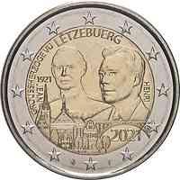 Luxemburg : 2 Euro 100. Geburtstag des Großherzogs Jean / Reliefprägung  2021 bfr