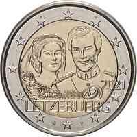 Luxemburg : 2 Euro 40. Hochzeitstag des großherzoglichen Paares / Reliefprägung  2021 bfr