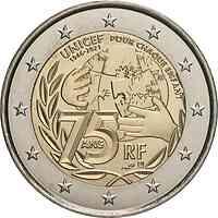 2 Euro Gedenkmünze 2021 / 2 Euro Sondermünze 2021 Frankreich 75 Jahre UNICEF