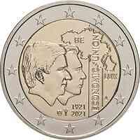 Belgien : 2 Euro 100. Jahrestag der Gründung der Belgisch-Luxemburgischen Wirtschaftsunion  2021 bfr
