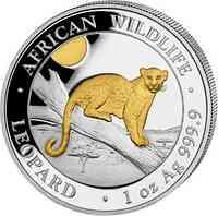 Somalia : 100 Schilling Leopard vergoldet 2021 Stgl.