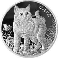 Fidji Inseln : 50 ct Fiji-Katzenserie 01 - Hauskatze 1oz  2021 Stgl.