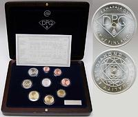 Finnland : 3,88 Euro original Kursmünzensatz der finnischen Münze in Holzkassette mit Zertifikat - Besonderheit : neues PP-Verfahren , Diamant-PP + Silbermedaille mit Diamant 0,02ct , Auflage : 1000 Exemplare  2003 PP