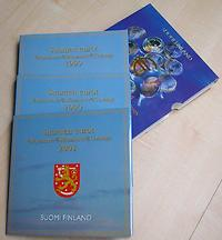 Finnland : 11,64 Euro original Kursmünzensatz der finnischen Münze (Triple-Set) als komplettes Set der Jahre 1999-2001  2001 bfr KMS Finnland Triple;KMS Finnland 1999;KMS Finnland 2000;KMS Finnland 2001