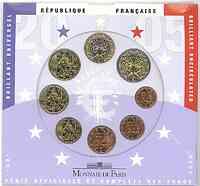 Frankreich : 3,88 Euro original Kursmünzensatz der französischen Münze  2005 Stgl. KMS Frankeich 2005