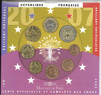 Frankreich : 3,88 Euro original Kursmünzensatz der französischen Münze  2007 Stgl. KMS Frankreich 2007