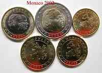 Monaco : 3,8 Euro Eigenzusammenstellung : 10 Cent, 20 Cent, 50 Cent, 1 Euro , 2 Euro - aus Originalrollen entnommen -selten- 2002 bfr