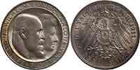 Deutschland : 3 Mark Wilhelm II. u. Charlotte patina 1911 vz/Stgl.