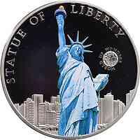Palau Islands : 5 Dollar Welt der Wunder - Freiheitsstatue in New York, farbig  2010 PP