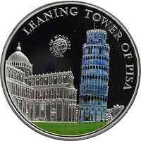 Palau Islands : 5 Dollar Welt der Wunder - Schiefer Turm von Pisa, farbig  2011 PP