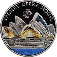Palau Islands : 5 Dollar Welt der Wunder - Opernhaus Sydney, farbig  2011 PP