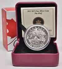 Kanada : 25 Dollar  O Canada - Wolf - im Etui  2013 PP