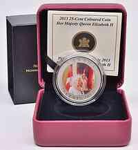 Kanada : 25 Cent Krönungsjubiläum/ Portrait Queen Elisabeth II.,farbig  2013 Stgl.