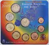 Spanien : 5,88 Euro original Kursmünzensatz aus Spanien mit 2 Euro Gedenkmünze Don Quijote  2005 bfr KMS Spanien 2005