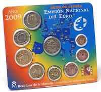 Spanien : 5,88 Euro original Kursmünzensatz aus Spanien mit 2 Euro Gedenkmünze WWU  2009 Stgl.