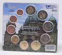 Spanien : 7,88 Euro original Kursmünzensatz aus Spanien mit 2 Euro Gedenkmünze Burgos + Eurobargeld - Sondersatz World Money Fair 2012  2012 Stgl.