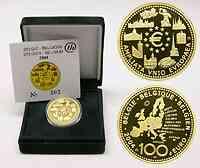 Belgien : 100 Euro EU-Erweiterung inkl. Originaletui und Zertifikat 2004 PP