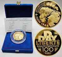 Frankreich : 100 Euro 60. Jahrestag D-Day, inkl. Originaletui und Zertifikat 2004 PP