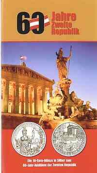 Österreich : 10 Euro 60 Jahre Zweite Republik im Originalblister  2005 Stgl.