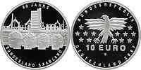 Deutschland 10 Euro 50 Jahre Saarland in Originalkapsel 2007 PP