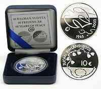 Finnland : 10 Euro 60 Jahre Frieden Frei von Fesseln inkl. Originaletui und Zertifikat  2005 PP