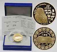 Frankreich : 10 Euro Jahr des Schweins inkl. Originaletui und Zertifikat  2007 PP 10 Euro Jahr des Schweins