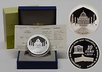 Frankreich : 10 Euro Taj Mahal Indien inkl. Originaletui und Zertifikat  2010 PP