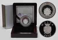 Malta : 10 Euro Auberge d'Italie inkl. Originaletui und Zertifikat  2010 PP