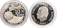 Spanien 10 Euro zur Fußball WM in Deutschland 2004 PP