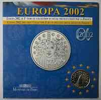 Frankreich 1/4 Euro Europa-Münze im Blister 2002