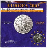 Frankreich : 1/4 Euro Europa-Münze in Originalverpackung  2003 Stgl.